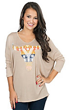 Mezzanine Women's Taupe with Aztec Print Cow Skull 3/4 Dolman Sleeve Casual Knit Top