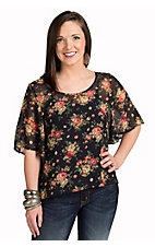 Mezzanine Women's Black Floral Print Top