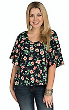 Mezzanine Women's Navy with Coral & Green Floral Print Short Sleeve Blouse