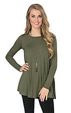 Karlie Women's Olive Long Sleeve Trapeze Tunic