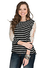 Mezzanine Women's Black and White Stripe Lace Sleeve Top
