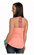 Karlie Women's Neon Coral with Multicolor Embroidery Racer Back Chiffon Tank
