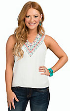 Karlie Women's White with Multicolor Embroidered Neckline Sleeeveless Top