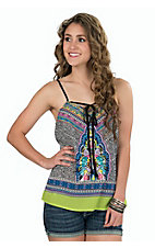 Karlie Women's Black with Colorful Print & Embroidery Tank
