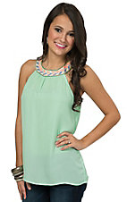 Karlie Women's Mint with Embroidered Circle Neck Sleeveless Top