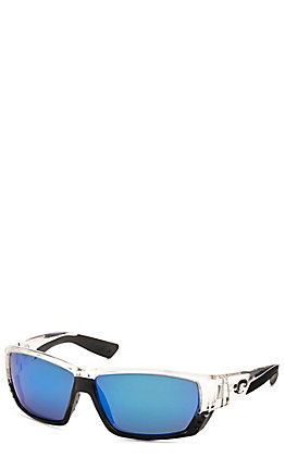 Costa Tuna Alley Shiny Crystal with Blue Mirror Lens Polarized Sunglasses