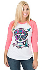 Crazy Train Women's Tahlequah Indian Skull with Neon Pink 3/4 Raglan Sleeve Tee