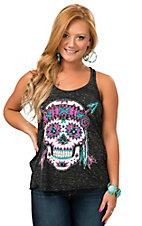 Crazy Train Women's Charcoal Burnout with Aztec Skull Tank