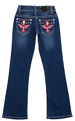 Wired Heart Girls' Dark Wash Pink Purple Embroidered Cross With Wings Boot Cut Jeans