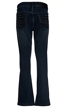 Silver Jeans Girls' Tammy Dark Wash with Pink & Black Stones Slim Boot Cut Jeans (7-16) - Cavender's Exclusive