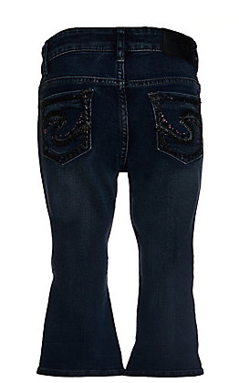 Silver Jeans Toddlers' Girls Tammy Dark Wash with Pink & Black Stones Slim Boot Cut Jeans (2T-4T) - Cavender's Exclusive