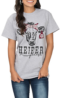 Girlie Girl Women's Grey Heifer Please Texas A&M Cow Bandanna Short Sleeve T-Shirt