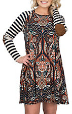 James C Women's Navy, Orange and Cream Paisley and Stripe Contrast Dress