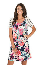 James C Women's Navy with Contrast Sleeves Floral Print Swing Dress