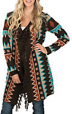 Anne French Women's Brown Fringed Aztec Cardigan