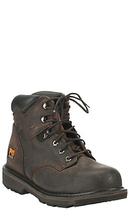 Timberland PRO Men's Pit Boss Dark Brown Round Steel Toe Lace Up Work Boot