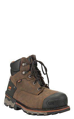 Timberland PRO Men's Boondock Brown Waterproof Round Composite Toe Lace Up Work Boot