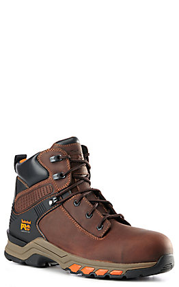 Timberland PRO Hypercharge Men's Brown & Orange Round Composite Toe Lace Up Work Boots