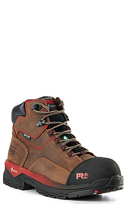 Timberland PRO Men's Boss Hog Brown and Red Accents Round Composite Toe Lace Up Work Boot