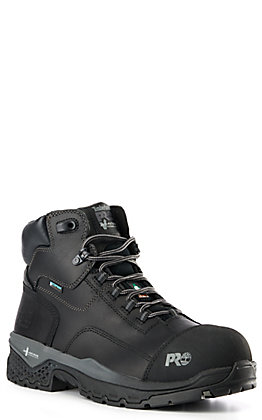 "Timberland Pro Boss Hog Men's Black Round 6"" Composite Toe Lace Up Work Boots"