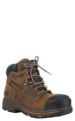 "Timberland PRO Helix HD Men's Brown Round Composite Toe 6"" Lace Up Work Boots"