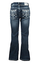 Grace in LA Girls Diamond Embroidered Pocket Boot Cut Jeans