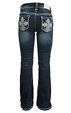 Grace in LA Girl's Dark Wash with Cross Embroidery Open Pocket Boot Cut Jeans