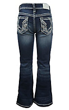Grace in LA Girl's Dark Wash with Silver Swirl Embroidery Open Pocket Boot Cut Jeans