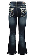Grace in LA Girl's Dark Wash with Gold and Blue Embroidery with Rhinestone Embellishments Open Back Pocket Boot Cut Jeans