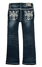 Grace in LA Girl's Tinnies Cross w/ Crystals Dark Wash Boot Cut Jeans