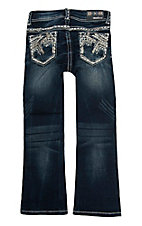 Grace in LA Girl's Tinnies Chevron Stitch Dark Wash Boot Cut Jeans