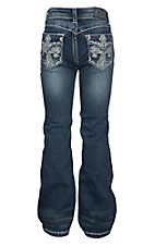 Grace in LA Girls' Cross Pocket Medium Wash Boot Cut Jeans