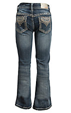 Grace in LA Girl's Medium Wash with Tan Embroidery Design Boot Cut Jean- Sizes 4T-6X
