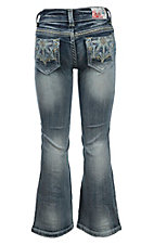 Grace in LA Girl's Light Wash with Flower Star Embroidery Design Boot Cut Jean- Sizes 4T-6X