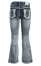 Grace in LA Girl's Medium Wash with Colorful Floral Print Open Pocket Boot Cut Jeans Size 4T-6X