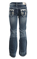 Grace in LA Girl's Dark Wash Open Back Pocket Boot Cut Jeans