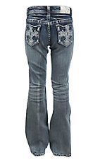Grace in LA Girl's Medium Wash with Embroidered Cross Open Pocket Boot Cut Jeans