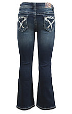 Grace in LA Girl's Dark Wash with Blue and Silver Cross Stitching Open Pocket Boot Cut Jeans