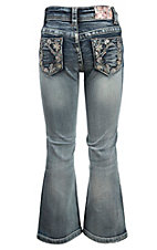 Grace in LA Girl's Light Wash with Sequin Floral Embroidery Design Boot Cut Jean- Sizes 4T-6X