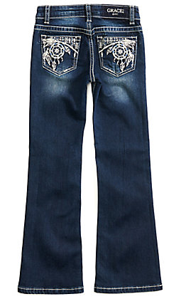 Grace in LA Girls Dreamcatcher Dark Wash Boot Cut Jeans