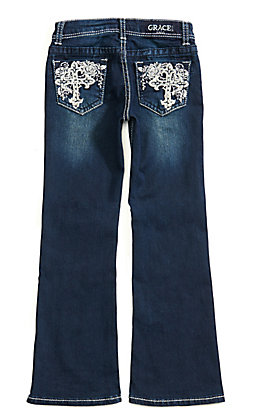 Grace in L.A. Girls' Dark Wash Cross with Floral Embroidery Boot Cut Jeans (4-6X)
