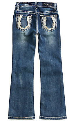 Grace in LA Girls Gold Horseshoe Medium Wash Boot Cut Jeans