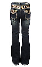 Grace in LA Girl's Faded Dark Wash with Cheetah Print Sequin Design Open Pocket Boot Cut Jeans