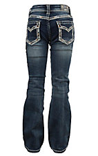Grace in LA Girl's Faded Medium Wash with Gold and Blue Edge Stitching Open Pocket Boot Cut Jeans