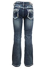 Grace in LA Girl's Dark Wash with Cream and Gold Thick Stitching Open Pocket Boot Cut Jeans
