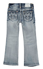 Grace in LA Girl's Light Wash with Blue and White Embroidered Open Pockets Boot Cut Jeans