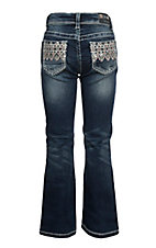 Grace in LA Girls Diamond Aztec Pocket Boot Cut Jeans