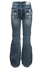 Grace in LA Girls' Tinnies Medium Wash Embroidered Cross Pocket Boot Cut Jeans