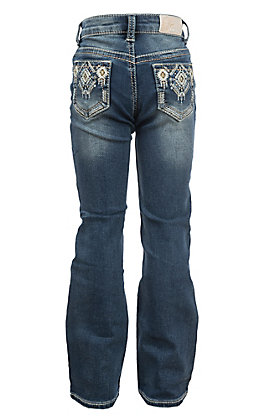 Grace in LA Girls' Aztec Edge Stitching Boot Cut Jeans
