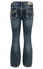 Grace in LA Girl's Medium Wash with Vine Embroidery Design Boot Cut Jean- Sizes 4T-6X